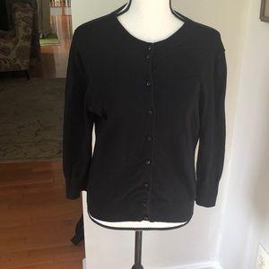 J.Crew women's black sweater cover-up top.